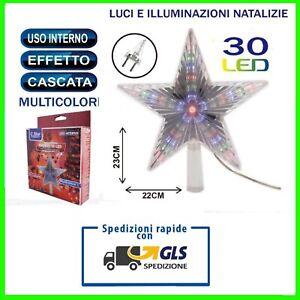 PUNTALE STELLA PER ALBERO DI NATALE LUMINOSO 30 LED MULTICOLORE A SPINA CORRENTE