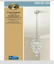 Hampton Bay 3-Light Chrome Branches Pendant Chandelier with Crystals