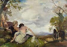 Ölbild Landschaft mit Frauen und Jäger Diana Sage Mythologie Thema? 1923 Antik