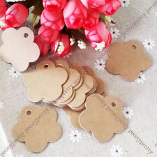 100x brown flower shaped hang tag label wedding party favor gift price card note