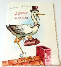 Vintage Baby Card Stork on Roof w Doctor Bag Pop Up Baby w Stork Inside