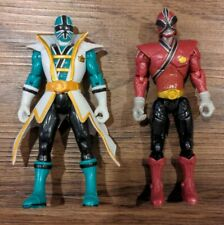 "Power Rangers Samurai RED & GREEN RANGER 4.5"" Figure Lot MMPR Mighty Toy"
