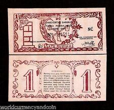 INDONESIA 1 RUPIAH P S121 1947 UNC OLD RIFLE JARAN JANG SAH FORGERY MONEY NOTE
