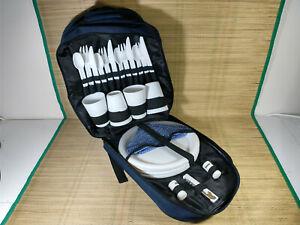 Lightweight 4 Person Picnic Set Bacpack - White Set - Navy Bag - Zip Porblem