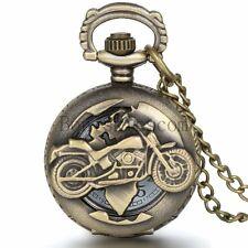 Vintage Biker Motorcycle Quartz Half-hunter Pocket Watch Pendant Necklace Chain