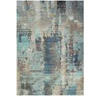 Blue Distressed Rugs Large Abstract Living Room Modern Home Decor Artistic Mats