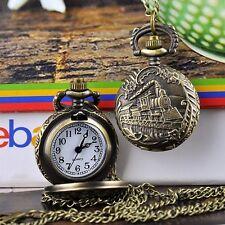 B20E Antique Vintage Train Pendant Big Bronze Tone Quartz Pocket Watch Necklace