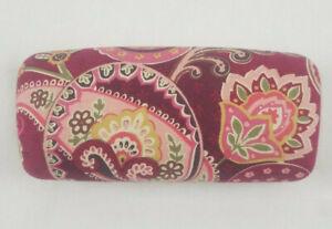 Vera Bradley Glasses Sunglasses Case Maroon Red Pink Paisley Hardcase Clamshell