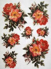 Rice Paper for Decoupage Scrapbook Craft Sheet Red Roses