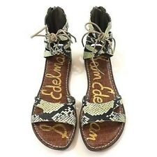 Sam Edelman GWENNA Flat Thong Tie Cage Sandal Shoe Green/Python 9/39 New