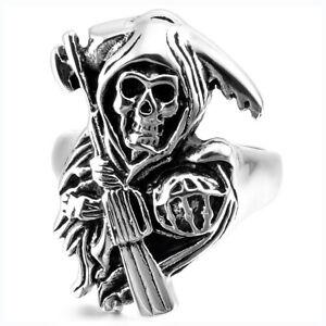 Vintage Men's 316L Stainless Steel Ring Grim Reaper Skull Gun Pistol Biker