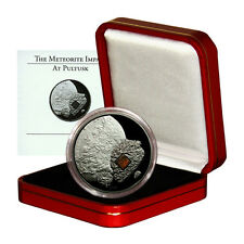 Cook Islands Pultusk Meteorite Fragment $5 2008 Palladium Proof Silver Crown Box