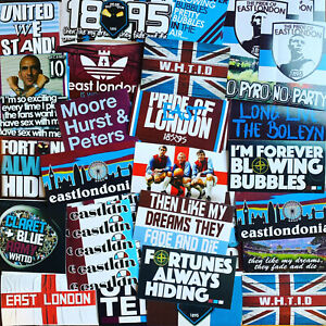 100 x West Ham United Ultra Style Stickers inspired by Poster Programme 1966 Cap