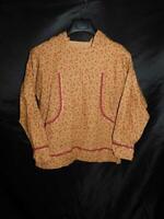Alaska Native Eskimo Kuspuk M L Brown Red Floral Shirt Hood Traditional Pockets