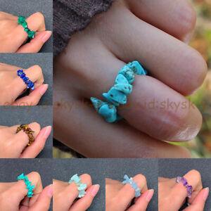 Irregular Gravel Chip Natural Multicolor Gemstone Beads Adjustable Stretchy Ring