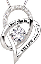 """ALOV Jewelry Sterling Silver """"I Love You To The Moon and Back"""" Love Heart Cubic"""