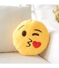 "13"" Happy Heart Kissy Kiss Wink Emoji Emoticon Stuffed Plush Pillow Cushion Toy"