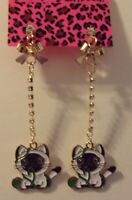 NWT BETSEY JOHNSON DANGLE EARRINGS CRYSTAL BROWN & WHITE ENAMEL CAT/KITTEN