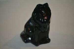 MOSSER GLASS Sitting Collie Dog Figurine - Purple Swirl