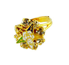 OES Order of the Eastern Star Gold-Plated CZ Stone Adjustable One Size fits most