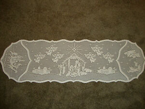 Lace Table Runner Ivory Christmas Silent Night design ( Retired ) 54 x 14