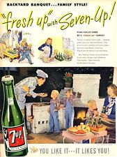 1947  7 Up PRINT AD Seven Up Features Vintage Bottle Outside Patio Barbecue BBQ
