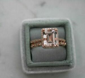 Emerald Cut Diamond 10K Rose Gold Solitaire Bridal Set Engagement Ring 2.10 CT