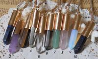 Mixed Clear Quartz/Amethyst/Pyrite/Dark Blue Sand Point Bullet Pendant Necklace