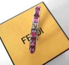 New Boxed Authentic Fendi Fendista Palladium Crystal Bracelet bangle Silver Pink