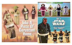 Star Wars Episode I Cup Toppers Complete Set of 12 Taco Bell KFC Pizza Hut 1999