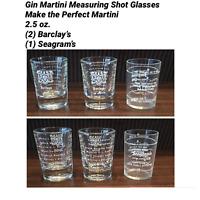 VINTAGE Gin Martini / Measuring Shot Glasses Barclays & Seagram's (Set of 3)