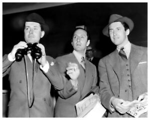 ROBERT MONTGOMERY JAMES STEWART BASIL RATHBONE CANDID AT THE RACES