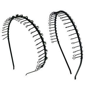 2 PCS  Comb Headband Metal Wire Teeth with Crystal Rhinestones & Plain  Assorted