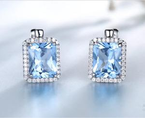 4.50Ct Emerald Cut Aquamarine Halo Drop & Dangle Earrings 14K White Gold Finish