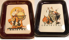 2 Vintage 1976 Lassers Beverage Norman Rockwell Christmas Tray