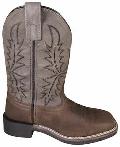 Smoky Children Bowie Brown Distress, Taupe Western Cowboy Boot
