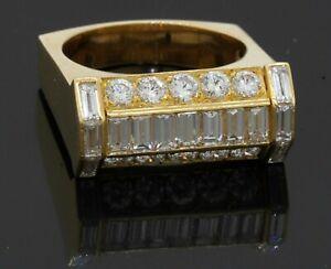 M.S. English designer hallmarked 18K YG 4.0CT VS1/F diamond men's ring size 10