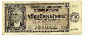 Turkey (P144) 100 Lira 1930 F+/aVF