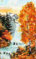IMPRESSIONIST PRINT COLLAGE WATERFALL LANDSCAPE