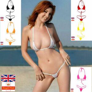 Sexy Women Micro Thong Underwear G-String Bra Set Mini Bikini Swimwear Nightwear