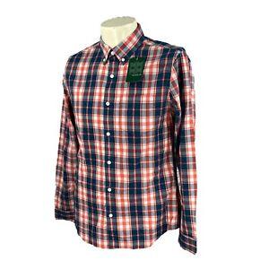 Hawker Rye Men's Slim Button Down Long Sleeve Blue Orange Plaid NWT Shirt Small