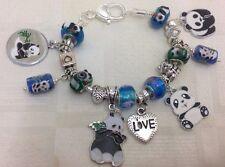 ** hecha A Mano Azul & Verde De Lujo Grueso Panda Cuenta Dije Pulsera De Cristal De Murano *