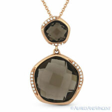 9.03ct Checkerboard Smoky Topaz & Diamond 14k Rose Gold Pendant & Chain Necklace