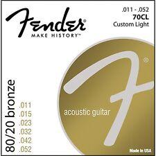 Fender 70CL 80/20 Bronze Acoustic Strings - Custom Light  11-52 (2 Pack)