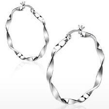 Pair of Silver 38mm Twisted Hoop Earrings