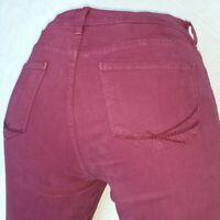 NYDJ Size 10/30 Straight Leg Jeans Womens High Rise Stretch Denim Dark Red Pants