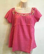 Hippie Bohemian SS Festival Embroidered Mexican Smock Peasant Blouse Pink