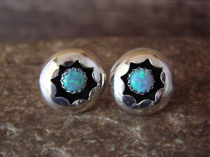 Native American Sterling Silver Shadowbox Ice Blue Opal Post Earrings