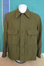Vintage Wool Army Hunting Camping Shirt Khaki Green Medium Mens