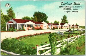 Inkster, Michigan Postcard DEARBORN MOTEL Highway 112 Roadside Linen c1950s